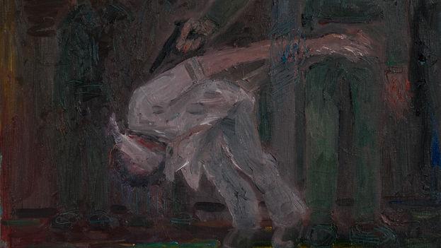 Juan Abreu, '1959. Tiro de gracia', fragmento. (Oil on canvas, 38 x 46 cm)