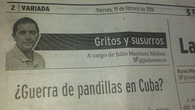 El artículo de Julio Martinez Molina en el periódico '5 de Septiembre' de Cienfuegos.