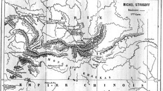 Mapa del libro 'Miguel Strogoff' (1876).