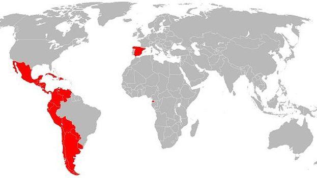 Mapa de países en los que se habla español.