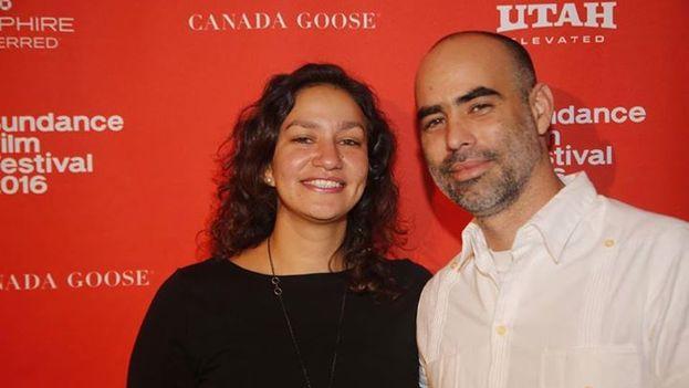El director de 'Agosto', Armando Capó, y la cineasta Marcela Esquivel en el Festival de Cine de Sundance. (Facebook)