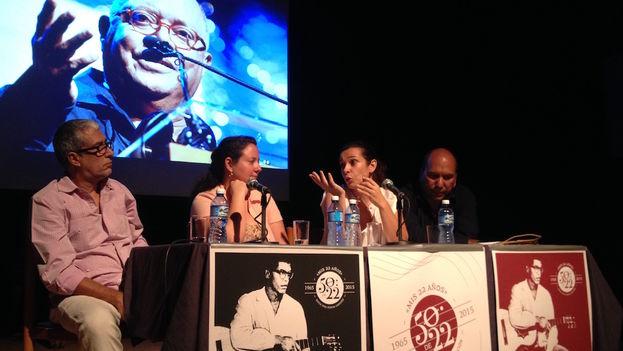 Juan Pin Vilar, Marianela Santos, Nancy Pérez y José Manuel García en la rueda de prensa este viernes que anunciaba el concierto de Pablo Milanés. (Luz Escobar/14ymedio)