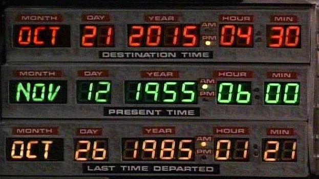 Marty McFly viaja junto Doc y Jennifer al 21 de octubre de 2015 en el DeLorean desde 1985. (Fotograma de 'Regreso al futuro 2')