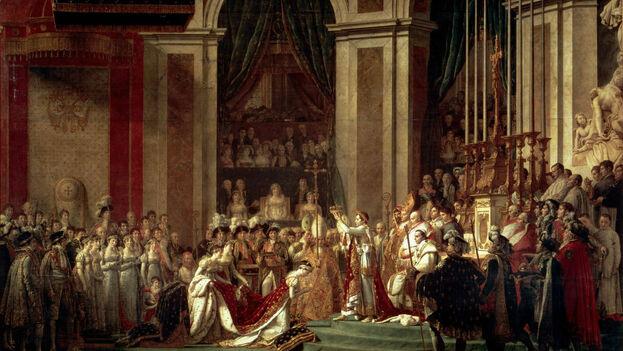 'La consagración de Napoleón', de Jacques-Louis David está expuesto en el Louvre y retrata la escena de la coronación del emperador en la catedral de Notre Dame.