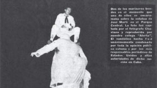 Página de la revista dedicada a 'La profanación de la estatua de José Martí en el Parque Central', de Jorge Domingo Cuadriello. (Espacio Laical)