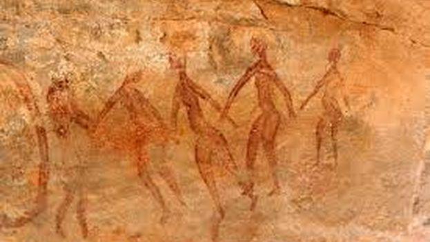 Pintura en una cueva de la región argelina de Tassili N'Ajjer.