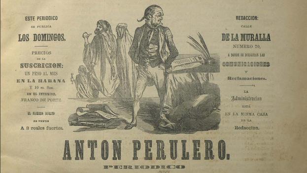 Portada de un ejemplar de 'Antón Perulero', revista satírica publicada en La Habana en el siglo XIX. (BNE)