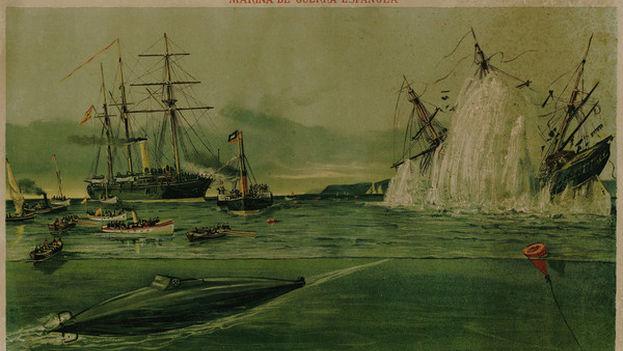 Póster conmemorativo del lanzamiento torpedos del submarino Peral. (Colección Privada Diego Quevedo)