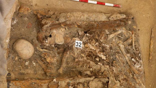 Restos hallados en el convento de las Trinitarias posiblemente correspondientes a Miguel de Cervantes. (Ayuntamiento de Madrid)