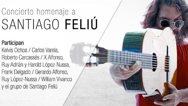 Cartel del concierto homenaje a Santiago Feliú.