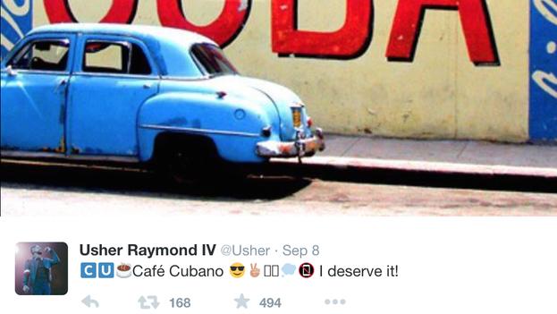Tuit de Usher desde La Habana. (Twitter/@Usher)