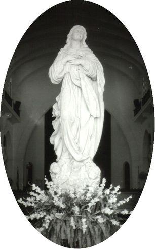 La talla de la Vigen de la Charca, hecha en mármol de Carrara