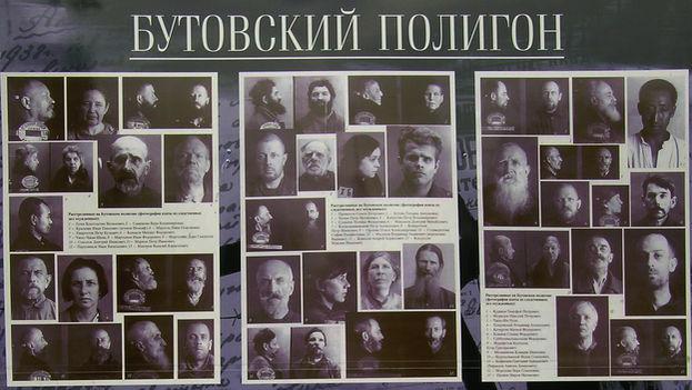 Vista parcial de una placa con las fotos de las víctimas de la Gran Purga que fueron fusiladas en el campo de tiro de Bútovo. (Flickr/CC)