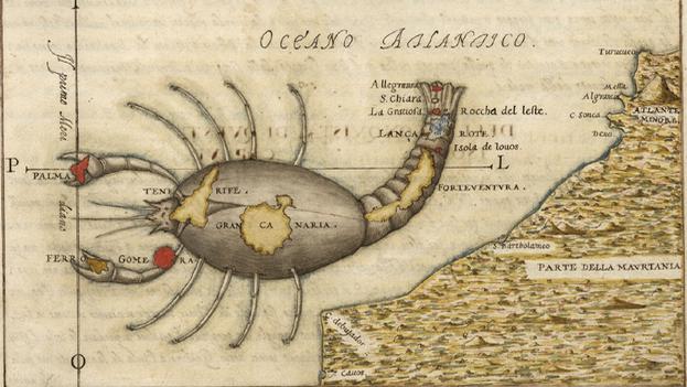 Mapa de finales del siglo XVI que muestra las Islas Canarias asociadas al signo zodiacal de Cáncer, según el ingeniero Leonardo Torriani. (Universidad de Coimbra)