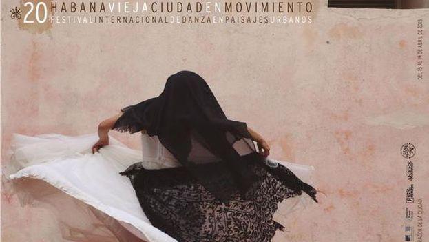 """Cartel de la XX edición del Festival Internacional de Danza en Paisajes Urbanos """"Habana Vieja: Ciudad en Movimiento"""""""