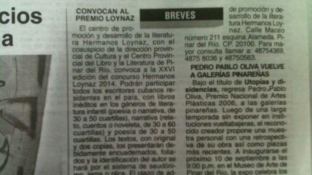 """La exposición en la cartelera de """"Guerrilero"""" el jueves pasado"""