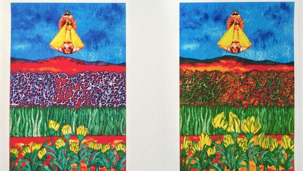 Dos momentos distintos de la obra 'La aparición de la virgen', creada mediante técnicas de arte generativo con el uso de 'software' informático. (14ymedio)