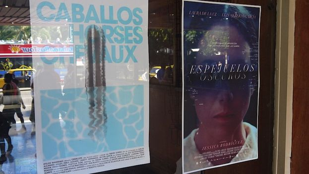 Los carteles de las películas 'Caballos' y 'Espejuelos oscuros'. (Luz Escobar)