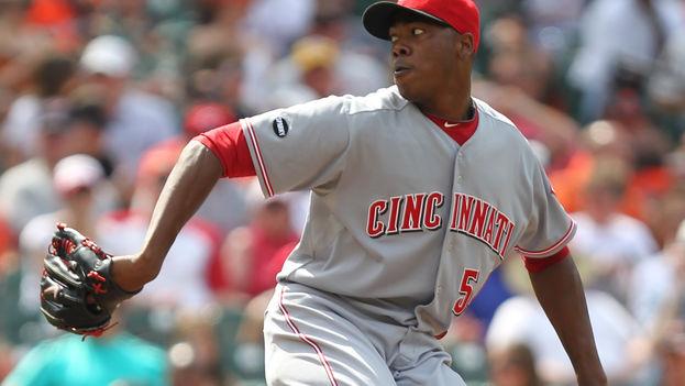 Aroldis Chapman cuando pitchaba para los Reds de Cincinnati. (CC)