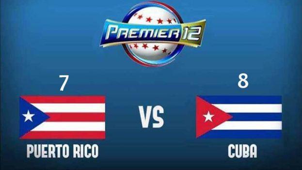 Cuba derrotó ocho carreras por siete al equipo de Puerto Rico en su tercera aparición en el Premier 12.