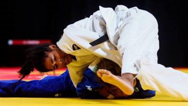 Nahomys Acosta durante un combate en los Juegos Olímpicos de la Juventud de 2018. (Juventud Rebelde)