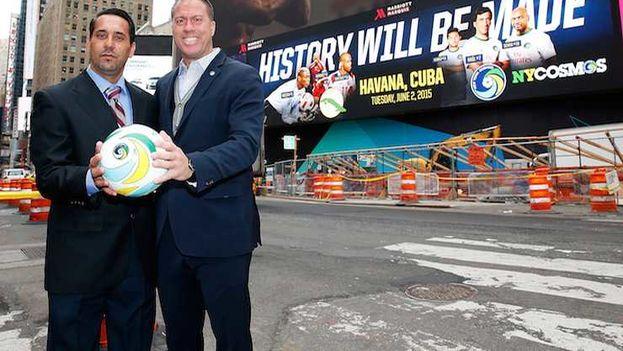 Presentación del partido entre el New York Cosmos y la seleción nacional cubana este lunes en Manhattan