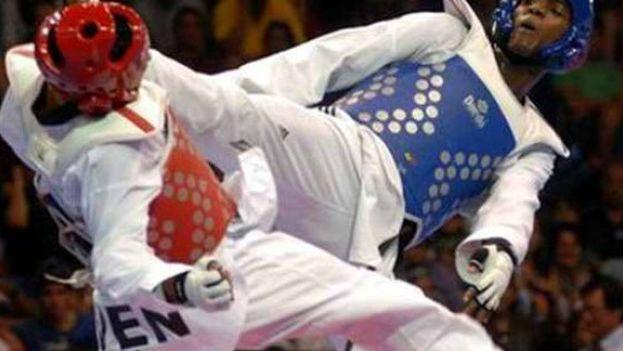 El atleta cubano Rafael Alba, medalla de oro en taekwondo. (VERACRUZ 2014)