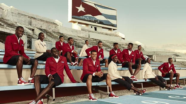 Uniformes de gala de la delegación cubana en los Juegos Olímpicos de Río 2016, diseñados por Christian Louboutin