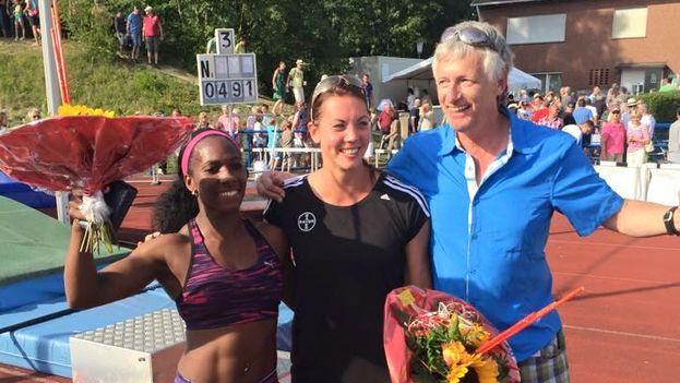 La atleta cubana Yarisley Silva celebra una de sus victorias. (Facebook)