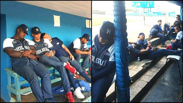 El lanzador holguinero Rubén González mostró el cansancio de su equipo por esperar seis horas para un partido. (Facebook)