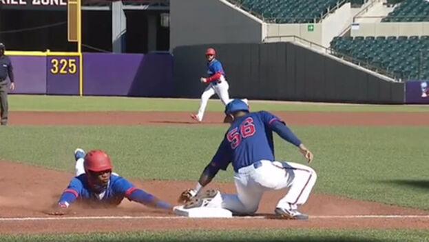 La selección cubana de béisbol ante la novena de Taiwán en el Mundial Sub-23. (Captura)