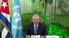 Miguel Díaz-Canel en su intervención ante la ONU con motivo de su 75º aniversario. (Captura)