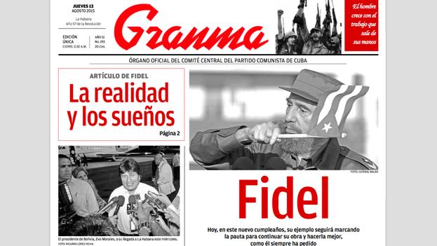 Portada de la edición impresa de 'Granma' del 13 de agosto de 2015, cumpleaños de Fidel Castro