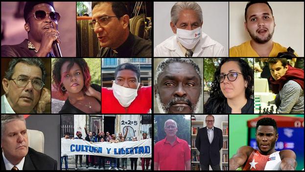Los 14 rostros de 2020 según '14ymedio'. (Collage)