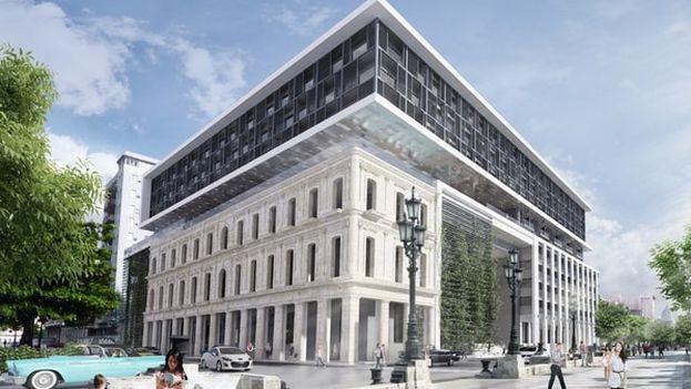 Maqueta del Iberostar Grand Hotel Packard, que finalizará previsiblemente este agosto. (Iberostar)