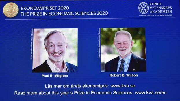 Los estadounidenses Paul Milgrom y Robert Wilson, ganadores del Premio Nobel de Economía. (EFE)