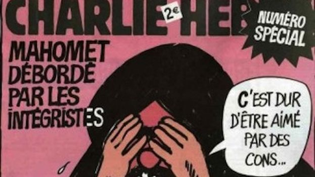 """Cover of the special edition published in 2006 by 'Charlie Hebdo,' the first incident with radical religious Muslims. In the vignette, Mohammed says, """"How hard it is to be loved by imbeciles!"""""""