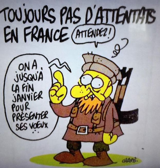 """One of the last cartoons by Charb, editor of Charlie Hebdo: """"Still no attacks in France. Wait a minute! We have until the end of January to celebrate the new year!"""""""