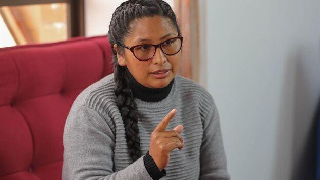 Eva Copa, expulsada del gobernante Movimiento al Socialismo (MAS), favorita para la alcaldía de El Alto. (EFE/ Martin Alipaz)