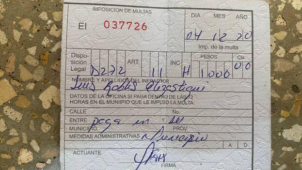Multa de 1.000 pesos impuesta a Luis Robles Elizástegui. (14ymedio)