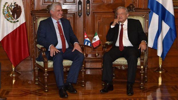 El mandatario cubano Miguel Díaz-Canel con el presidente mexicano Andrés Manuel López Obrador, durante una visita oficial del primero en 2019. (Presidencia de Cuba)
