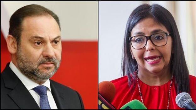 El ministro español José Luis Ábalos tuvo un encuentro 'secreto' en plena madrugada en el aeropuerto de Barajas con la vicepresidenta venezolana, Delcy Rodríguez. (Collage)