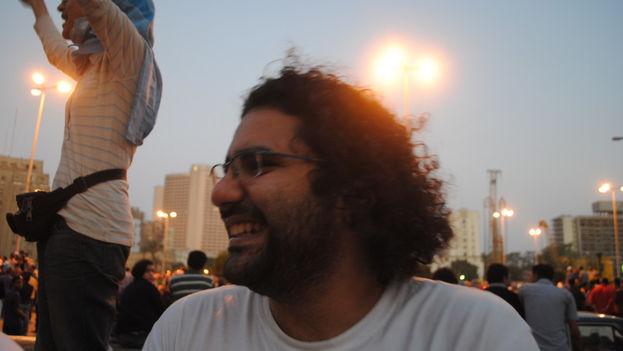 Alaa Adelfatah en Tahrir durante las protestas de 2011. (CC)
