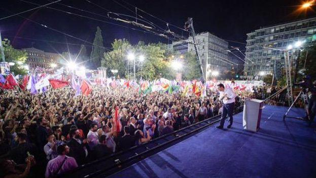 Alexis Tsipras en una manifestación justo antes de las elecciones. (Twitter/@tsipras_eu)