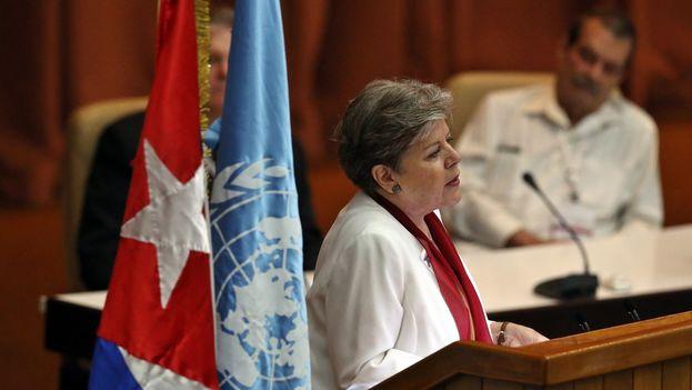 Alicia Bárcena, secretaria general del organismo, en su discurso inaugural del 37 periodo de sesiones. (@cepal_ONU)