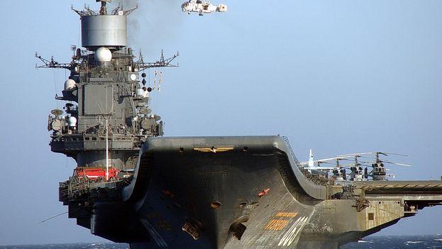 El portaaviones ruso Almirante Kuznetsov se retira del Mediterráneo Oriental. (EFE)