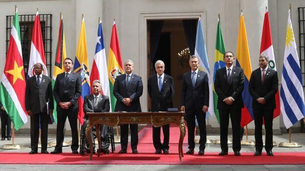 Los mandatarios de varios países de América del Sur fundaron Prosur este viernes. (Lenín Moreno)