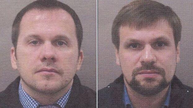 Anatoli Chepiga y Alexander Mishkin, los agentes rusos sospechosos de la explosión de un polvorín en la República Checa en 2014. (Policía Nacional checa)