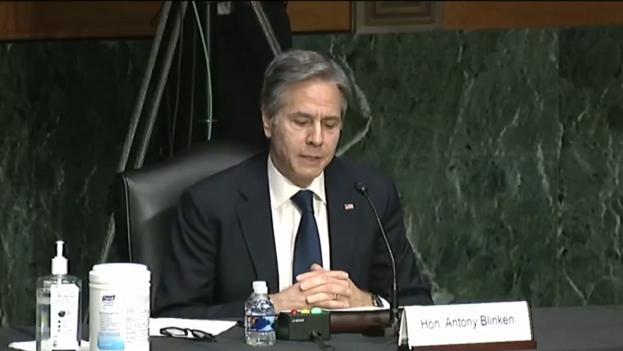 Anthony Blinken en su intervención ante el Senado este martes. (Captura)