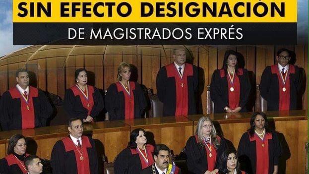 NTN24 anunció así la destitución por parte de la Asamblea Nacional de Venezuela de la designación de 13 Magistrados del Tribunal Supremo. (Twitter)